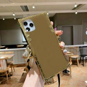 مصمم مرآة زهرة الحالات الهاتف لآيفون 12 ميني 11 برو ماكس xs XR X 8 7 زائد الفاخرة مربع حالة الغطاء الخلفي قذيفة مع الحبل
