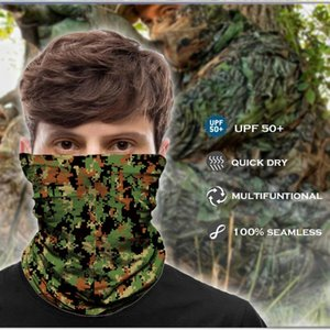 Camouflage Bandana Facemask Tactical Hunting Scarf Snood Mask Digital Camo Buff Headwear Camping Balaclava Army Seamless Men Cycling Caps &