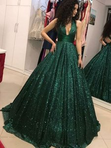 Emerald Green Prom Dresses V-Neck Glitter Sequin Ball Gown Backless Party Maxys Long Formal Gowns Evening Dress Robe De Soiree