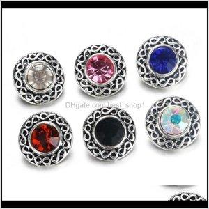 Arts And Crafts 10Pcs 6 Color Lot Vintage Rhinestone Metal Buttons Fit Diy 12Mm Sivler Snap Bracelets Jewelry 9825 H Qylspl 4N3L N7Kdg