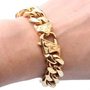 13 15mm Heavy Men's Bracelet Curb Cuban Link Gold Silver Color 316L Stainless Steel Wristband Male Jewelry Link, Chain