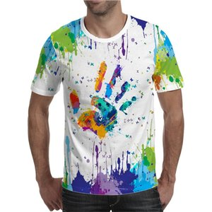 the Latest Summer Colorful 3d Printing Men's O-neck Short-sleeved Palm Print Graffiti Male T-shirt
