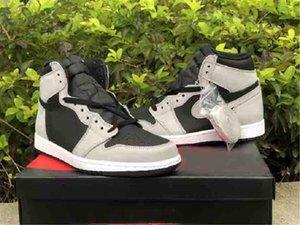 أعلى جودة 1 ارتفاع og Shadow 2.0 أحذية كرة السلة الرجال النساء 1 ثانية ضوء أسود دخان رمادي-أبيض أحذية رياضية 555088-035 مع مربع