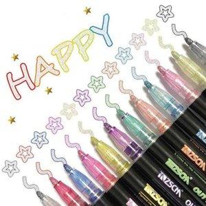 12 Color Double Line Outline Art Pen Marker Pen DIY Graffiti Outline Marker Pen Highlighter Scrapbook Bullet Diary Poster Card