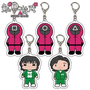 Squid Game Figure Keychain Acrylic Stand Korean Dramas Triangle Square Circle Icon Cosplay Cartoon Keyring Fans Gift