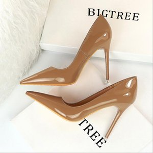 Fashion Stiletto High-heeled Women's Shoes Patent Leather Shallow Mouth Pointed Hollow Sexy High-heeled Shoes size 34-43