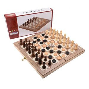 Folding wooden three in one chess set