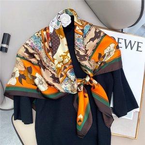Elegant Printed Silk Scarf for Women Spring and Summer New Large Kerchief Sunscreen Shawl 90cm Cartoon Animal Rabbit Scarf for Women