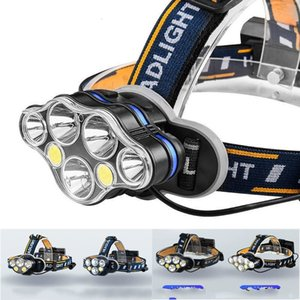 Powerful 18650 Rechargeable LED Headlamp T6 COB 8 Modes Lamps 50000 Lumens Adjustable Waterproof Camping Flashlight 205 W2