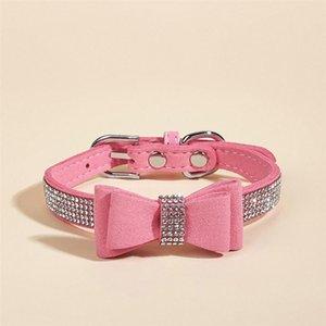 Dog Collars & Leashes 1 Set Rhinestone Collar Adjustable Bowknot Training