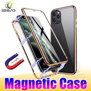 Manyetik Adsorpsiyon Kılıfları iPhone 12 Pro Max 11 XR X 8 7 Artı Darbeye Dayanıklı Çift Temperli Cam Telefon Arka Kapak Kılıf Izeso