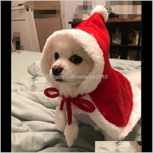 Apparel Home & Garden Drop Delivery 2021 Christmas Supplies Red Hooded Cloak Cape Fashion Dog Cat Puppy Shawl Costumes With Hat Coat Santa Cl