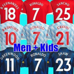 RONALDO 21 22 SANCHO Manchester soccer jersey UNITED Fans Player version MAN BRUNO FERNANDES LINGARD POGBA RASHFORD football shirt UTD 2021 2022 men + kids kit sets