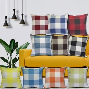 Plaid Pillow Cover Case British Grid Throw Cushion Cover Check Tartan Pillowcases Sofa Square Car Decor Bedding Home Textiles 45*45cm C7167