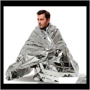 Hiking Camping Supplies Siery Mylar Waterproof Emergency Rescue Space Foil Thermal Blanket Outdoor Pads Pet 10 Pcs Vz4Ag Bzgvj