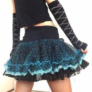 Skirts Goth Dark Leopard Mini Skirt Emo Girl Mesh Punk Patchwork Micro Womens Harajuku Gothic Clothes Grunge Kawaii Streetwear
