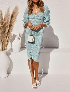 Kleider Sets Packung Heupen Dot Print Mouwen Elegante Frauen Tierküche Up Elastic Rucke Mid Long Party Kleid Slim Fit Vestido