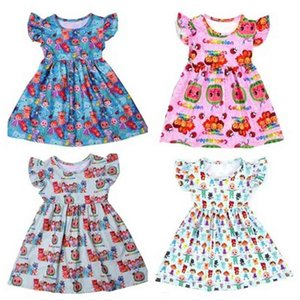 Newest Summer Toddler Girls Dresses Cocomelon Clothes Boutique Milk Silk Puff Sleeve Birthday Dress Design Kids Costume 210402