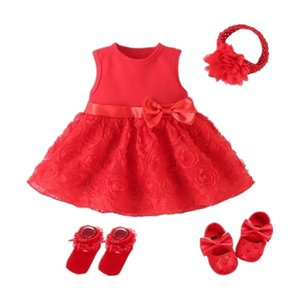 Newborn Girl Baby Clothes 0-3 Months Wedding Party Birthday Outfits 0-1 Years Dress Shoes Set Christening 210317