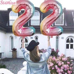 Staraise 32inch Color Foil Balloons Digit Rainbow Number Balloon Happy Birthday Wedding Party Decor Air Ballon Figure Decoration