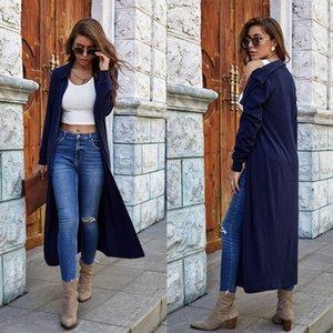 Autumn Winter Sexy Lapel Women's Knitted Zipper Long-sleeved Solid Color Windbreaker Jacket Wild Pocket Cardigan Ladies Long Top
