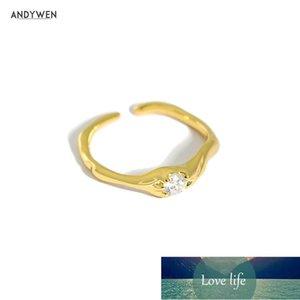 Andywen 925 Sterling Silver Gold One Zircon Irregular Geometric Resizable Rings Women Fashion Fine Jewelry Luxury Jewels