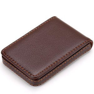 Card Holders Case Business Holder Multipurpose Gift With Magnetic Shut Pocket Push Type PU Leather Wear Resistant Fashion Solid Wallet