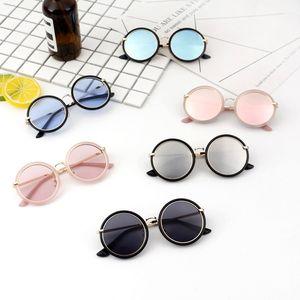حر دي إتش إل بوي فتاة الأزياء الكلاسيكية النظارات الطفل أطفال المعادن جولة إطار نظارات الشمس الصيف شاطئ في الهواء الطلق الرياضة الطفل المضادة للأشعة فوق البنفسجية النظارات النظارات