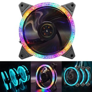 Fans & Coolings COOLMOON Double Ring Diamond Face Chassis Fan 12cm Mute Light Emitting Desktop Computer Cooling CPU PC