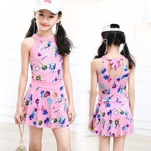 flat one Korean split piece children's angle trouser skirt middle school students' girls' swimsuit