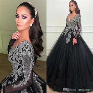 Sexy Ball Gown Evening Dresses Black V-Neck Classical Long Sleeves Appliques Beads Top Prom Quinceanera Dress Formal Party Pageant Gowns