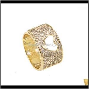 Cluster Ringe Schmuck Drop Lieferung 2021 Sdzstone Gelbgold Farbe Strahlungsherzen Klar CZ Fingerring Frauen Mutter Geschenk Schmucksachen1 ifpa2