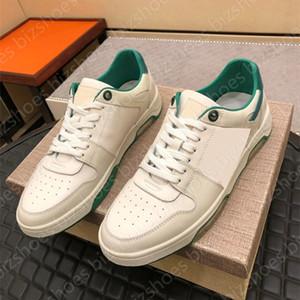 Calfskin Sneaker Branco Seta Verde Sapatos Casuais Couro Couro Dentro Desligado Borracha Sola Mens Skate Sports Vintage Luxurys Designer Sneakers Treinadores
