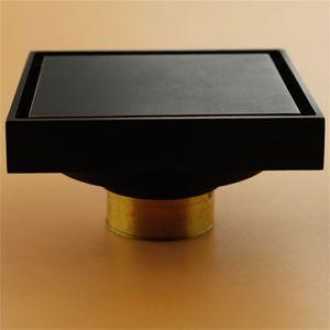 Modern Saf Siyah Görünmez Duş Zemin Drenaj / Banyo Balkon Kullanımı Pirinç Malzeme Hızlı Drenaj Kiremit Eklemek Kare Drenaj 609 R2