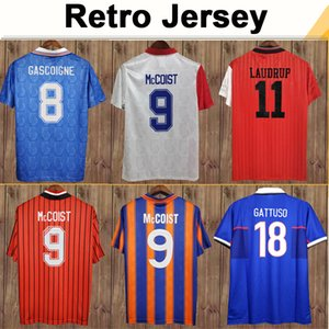 96 97 Saudrup Mens Ретро Футбол Джетки Albertz Gascoigne Mccoist Ferguson Gattuso Home Out Your Rangers Футбольная рубашка Униформа