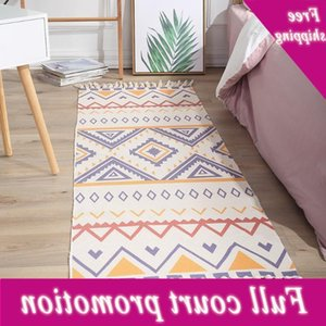 2020 New Retro Bohemian Hand Woven Cotton Linen Bedside Rug Geometric Floor Mat Living Room Bedroom Decor Home Carpet