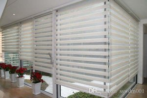 Custom Made Translucent Roller Zebra Blinds In White Linen Curtains For Living Room 30 Colors Are Available