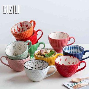 Gizili tazze in ceramica tazza di caffè colazione cereale carino ceramica tazza di latte famiglia grande capacità farina d'avena tazza drinkware home decor 210409