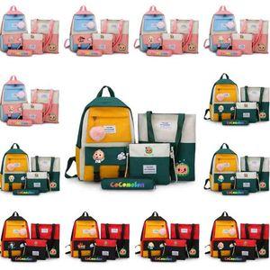 4 adet Set Cocomelon JJ Karikatür Omuz Çantası Tuval Sırt Çantası Schoolbag + İpli Çantalar Fanny Paketi Crossbody Çanta + Çanta Kalem Kutusu Öğle Yemeği Tote GG33D4P2