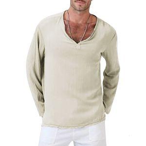 Man T-shirts V-Neck Men Clothing Solid Color Linen Cotton Mens Short Sleeve Tops Men's Tees Plus S-4XL