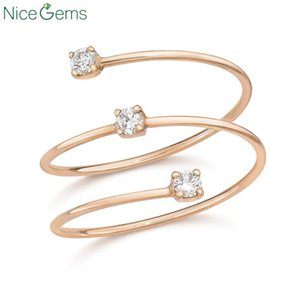 Cluster Rings NiceGems Solid 18k Rose Gold Three Floating Lab Grown Moissanite Diamond Ring Wedding Band VVS1 Clarity For Daily Wear