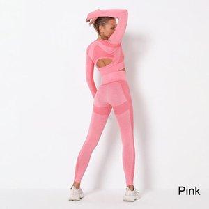 Set de deporte de mujeres vitales sin fisuras juego de yoga conjunto de gimnasio ropa de entrenamiento de manga larga fitness cultivo top + cintura alta leggings de energía wmkur xhlove