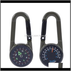 1Pcs Keychain Multifunctional Camping Hiking Metal Carabiner Mini Compass Thermometer Sporting Outdoor Survival Tools Gadgets Vw1My 6Diyo