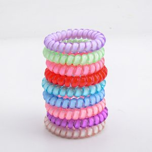Rubber Bands 25 Colors 5 Cm High Quality Telephone Wire Cord Gum Tie Girls Elastic Hair Band Ring Rope Candy Color Bracelet Stretchy 1288 Q2