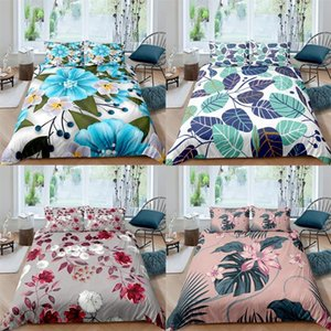 Leaf Floral Duvet Cover Single Full Queen King Double Size Bedding Set Plant Pillowcase Quilt Bed Covers Linen Sets