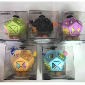 12 Sides Tiktok magic infinity cubes rainbow solid fidget infiniti Cube toys sensory flip infinites finger fun stress relief ADHD poppers kids adult H412RJE