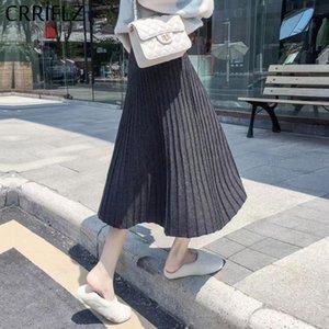 Skirts Autumn Winter Fashion Pleated Skirt Women Casual Elegant Solid High Waist Midi Female Office Lady CRRIFLZ