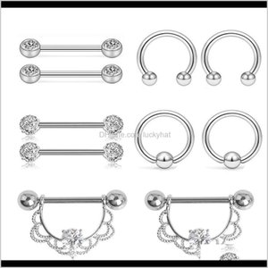 Rings Fashion Stainless Steel Navel Belly Lip Nipple Eyebrow Bar Ring Ball Piercing Kit Body Jewelry Tbgbb Qnn7F