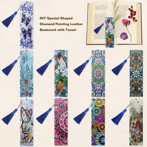 For Gifts Flower Animal Pattern DIY Bookmarks Special Shaped Diamond Painting Leather Bookmark With Tassel Office Supplies Craft