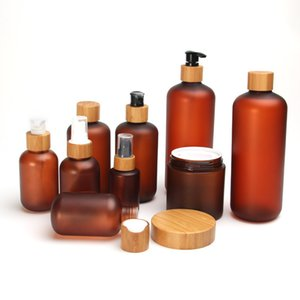 150g 250g frosted amber PET plastic container cream jar with wooden lids 8oz bottles bamboo pump cap